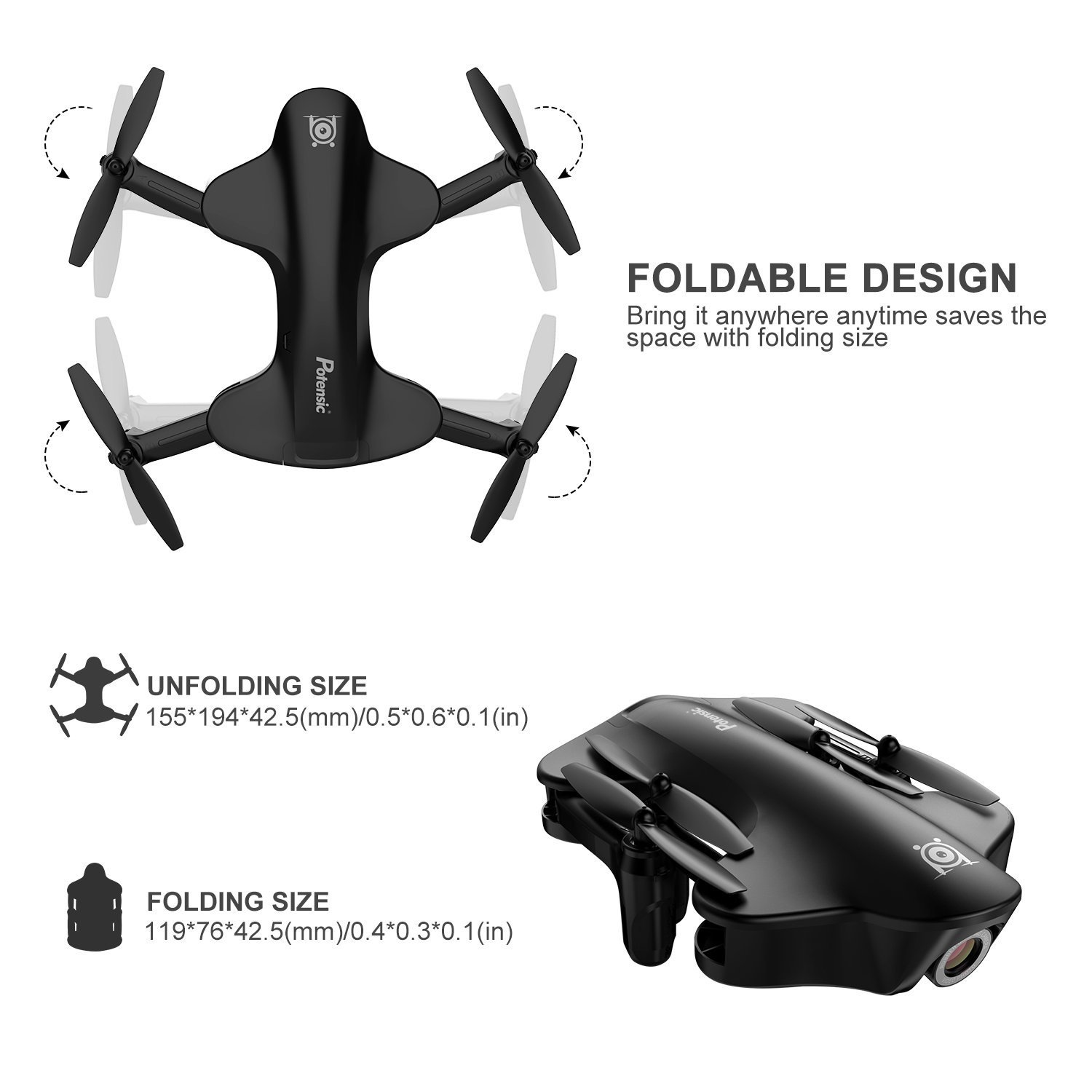 Potensic Foldable RC Drone With 720P Camera Live Video Feed, U29S Wi-Fi FPV 2.4GHz 6-Axis Gyro Quadcopter with 120° Wide-angle Shot -Flight Route Setting, Optical Flow, Altitude Hold, One Key Take Off by Potensic