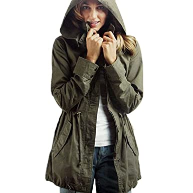 Vedem Women's Hooded Drawstring Military Jacket Parka Coat Army ...