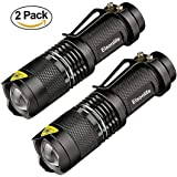 Flashlights (2 Pack), 7W LED Mini Tactical Flashlight 300 Lumens with 3 Modes, Battery Powered Zoomable Handheld Flashlights for Camping, Hiking by Eisonlife