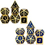 D&D Game Metal Dice Set, DNDND Color Changing Mettallic Dice with Free Metal Tin for DND Dungeons and Dragons Role…