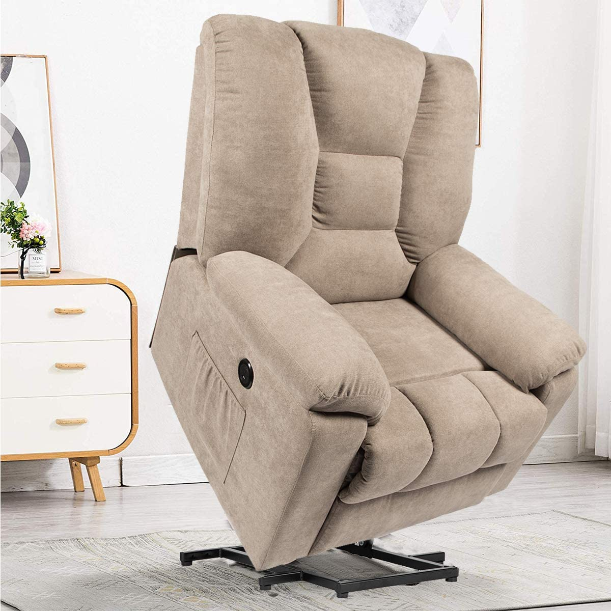 YODOLLA Electric Lift Electric Chair Recliner, Single Chair with Massage Function, Cotton Linen Living Room Bedroom Furniture with Remote Control, Dark Beige