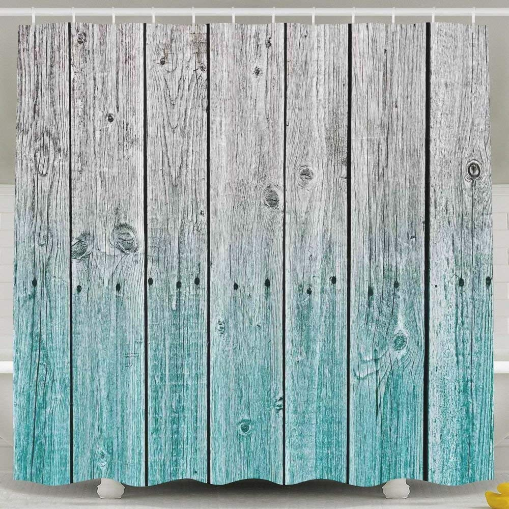 HONGYUDE Blue Wood Panels 6072 Inch Bathroom Shower Curtain Set Waterproof Mold and Mildew Resistant Bath Curtain Fabric Polyester for Bathroom Decoration