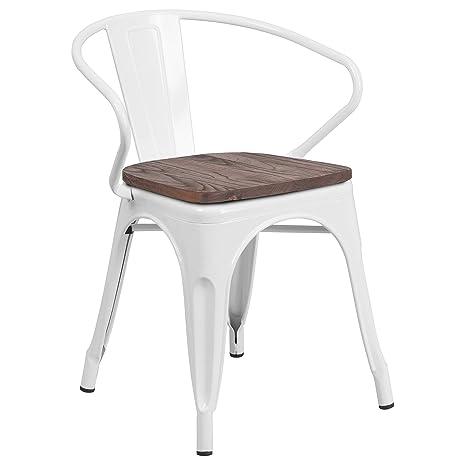 Amazon.com: Silla de metal plateado con asiento de madera y ...