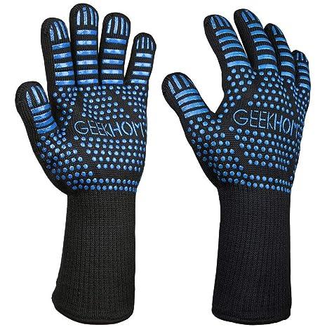GEEKHOM Guantes Horno, Guantes de Cocina, Oven Gloves, 33cm Kevlar Manoplas, Resistentes Al Calor Hasta 500℃, Manoplas Para Horno, Barbacoa, Asado, ...