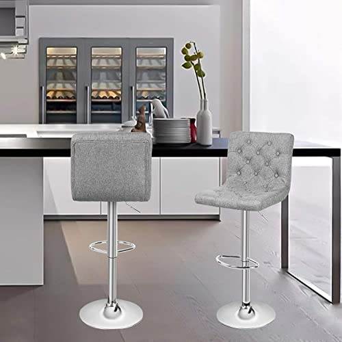 Magshion Mixed Color Square Adjustable Height Swivel Bar Stool Lift Pub Chair Fabric Gray