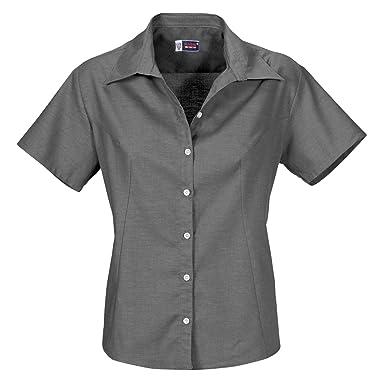 7af169203 US BASIC Womens Ladies Casual Work Grey Shirt - Short Sleeve and Open Neck:  Amazon.co.uk: Clothing