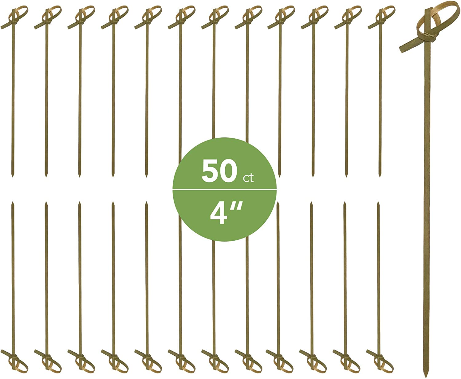 JapanBargain 1596, Bamboo Cocktail Picks Skewers for Appetizer Snack Sandwich Finger Food Tapas Fruit Kabob BBQ Hors D'oeuvre Twisted End Knotted Bamboo Sticks, 4 inch, 50pcs