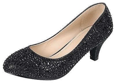 414386ad330 Cambridge Select Women s Closed Round Toe Glitter Crystal Rhinestone Kitten  Heel Dress Pump (5 B