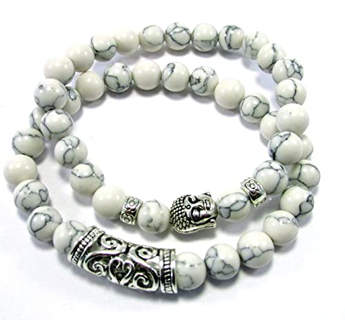 Howlite White and Silver Crown 8mm Beaded Bracelet w Silver Accents