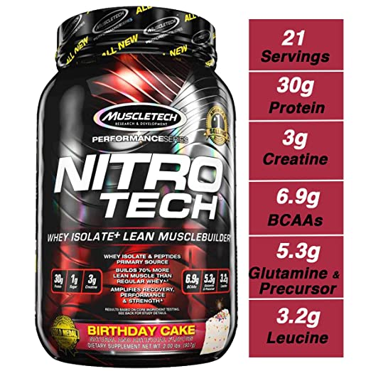 Muscletech Performance Series Nitrotech Whey Protein Peptides & Isolate (30g Protein, 1g Sugar, 3g Creatine, 6.9 BCAAs, 5.3g Glutamine & Precursor, Po at amazon