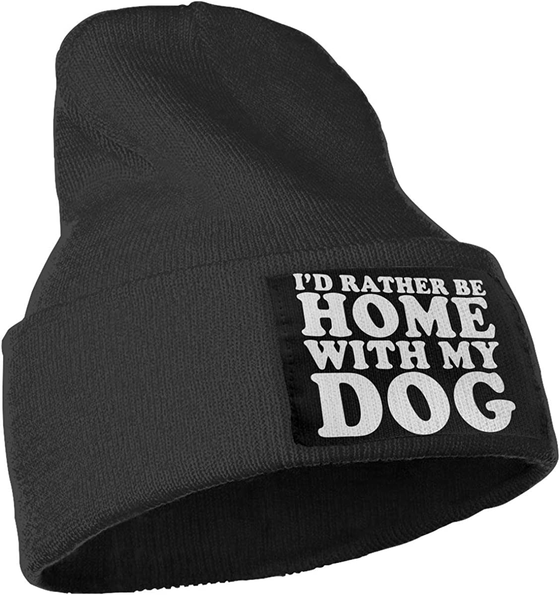 Ydbve81-G Unisex 100/% Acrylic Knit Hat Cap Id Rather Be Home with My Dog Soft Beanie Hat