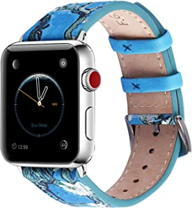 Fullmosa Apple Watch Band 40mm 44mm 42mm 38mm, Galeri Printed Leather Apple Watch Band Compatible for iWatch Series SE/6/5/4/3/2/1,40mm Light Blue
