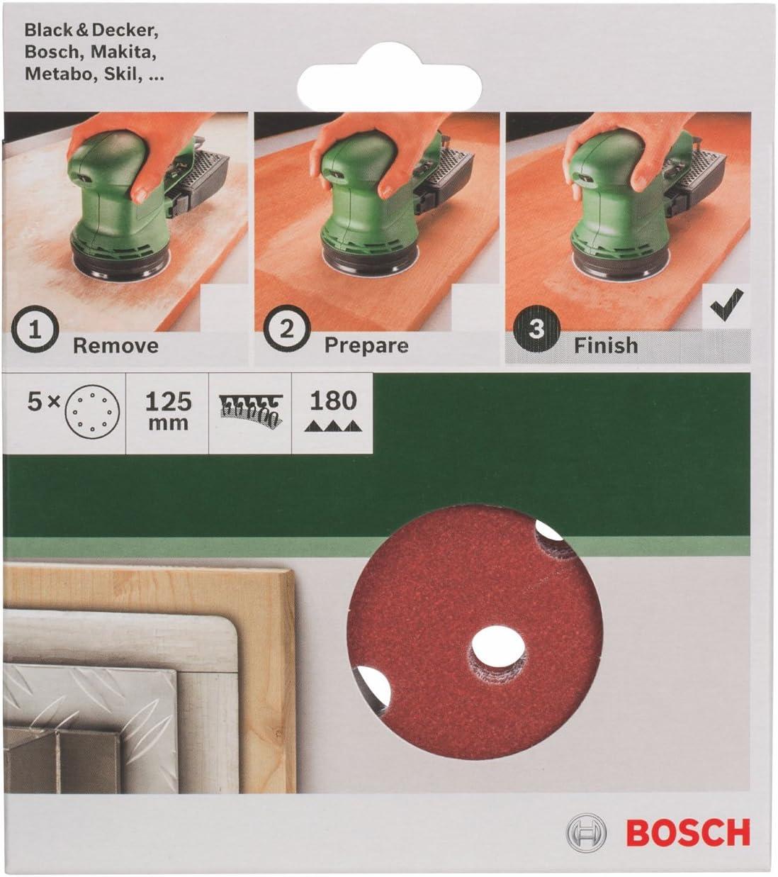 Juego de hojas de lija de 5 piezas para lijadora exc/éntrica Bosch 2 609 256 A25