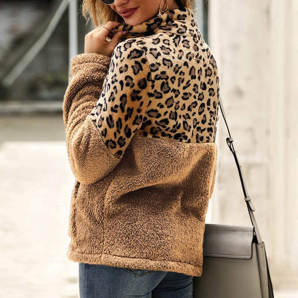 Creazrise Womens Winter Leopard Print Fluffy Sherpa Fleece Faux Long Sleeves Sweater Top Blouse with Pockets