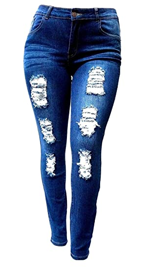 180e2bf74fd Jack David GAZOZ Womens Plus Size Stretch Distressed Ripped Blue Skinny  Denim Jeans Pants at Amazon Women s Jeans store