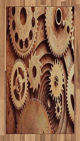 Industrial Area Rug por Ambesonne, en el interior de relojes tema Gears dispositivo de cobre