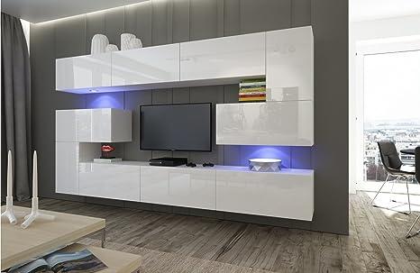 HomeDirectLTD Moderno Conjunto de Muebles para salón Albania Blanco (AN3-17W-HG21-1A, Azul LED)