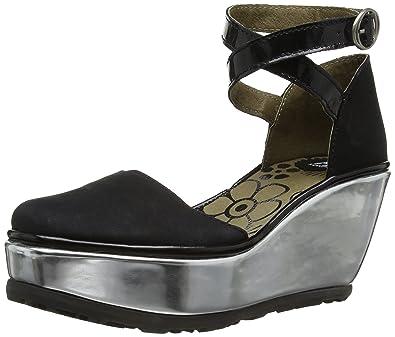67d6c303eb8c Fly London Penn Women s Wedge Sandals - Black Mirrow