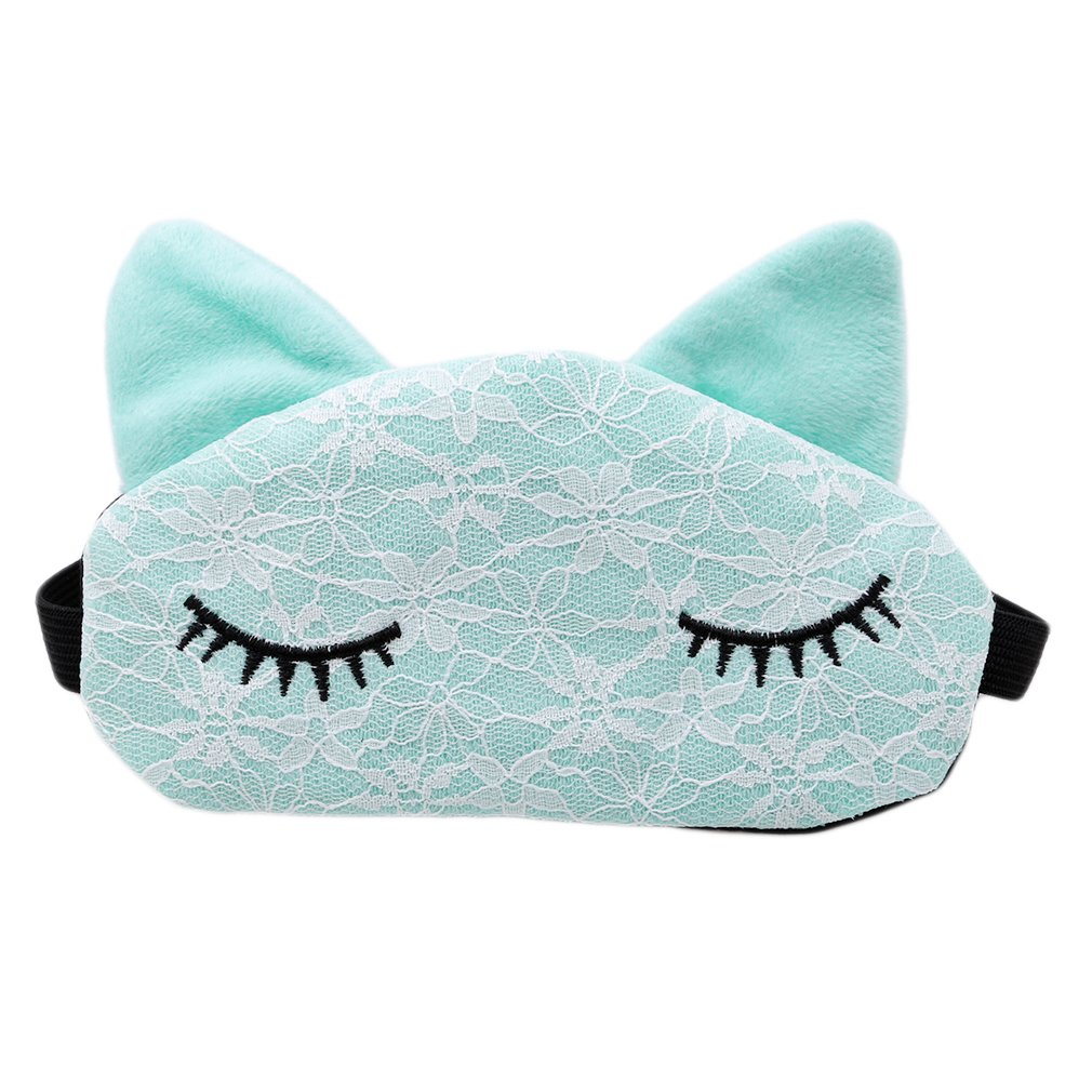Dolland Women Girls Cute Cat Sleep Eye Mask Blindfold Eye Shade Sleeping Eye Cover for Travel, Nap, Meditation,Green,One Size