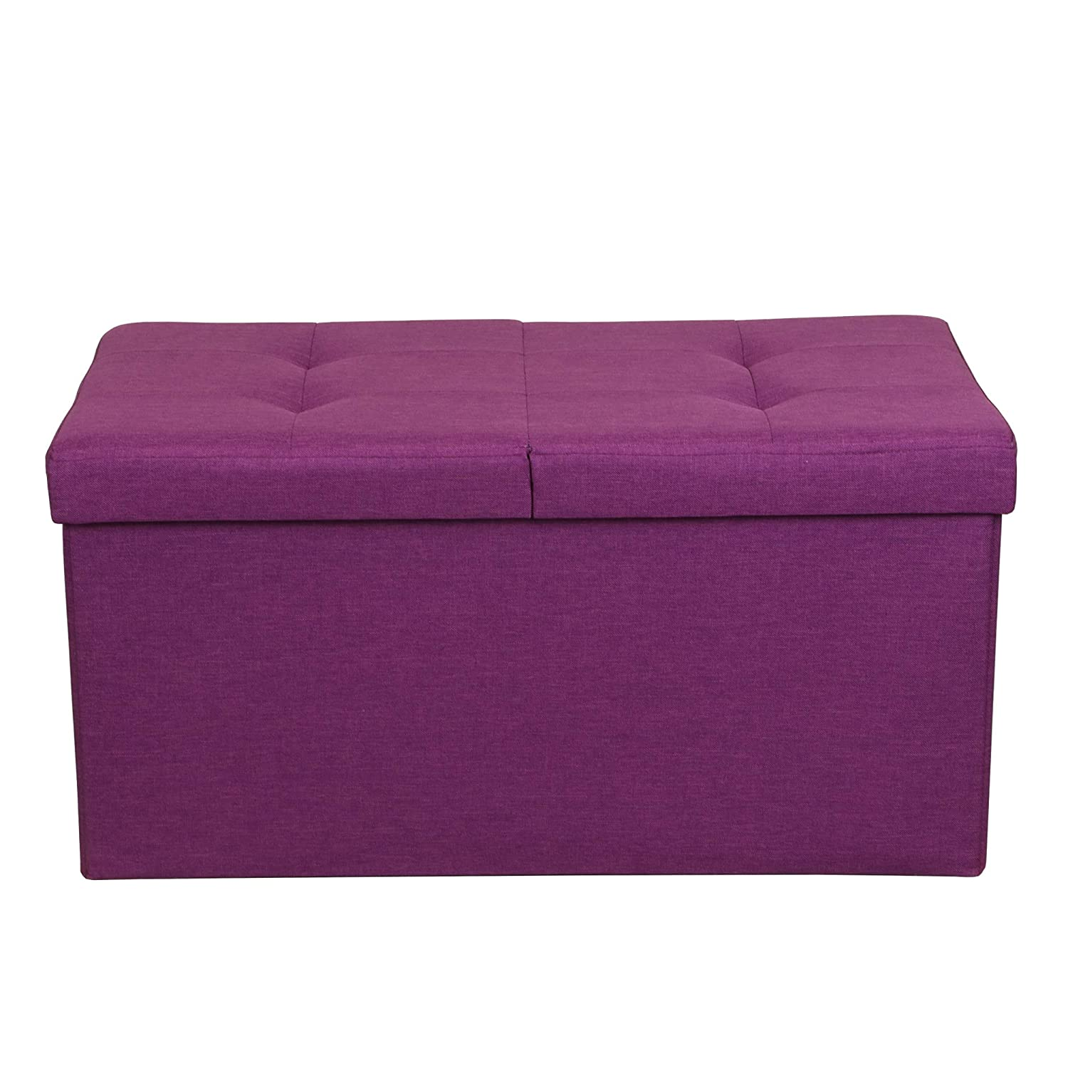 Otto Ben 30 Storage Ottoman – Folding Toy Box Chest with SMART LIFT Top, Upholstered Tufted Ottomans Bench Foot Rest for Bedroom, Orchid Purple