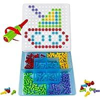 Jeu de Construction Pegboard Puzzle Jeu Vis Ecrou Plastique Jouet Mosaïque Pour Enfant Garçon Fille
