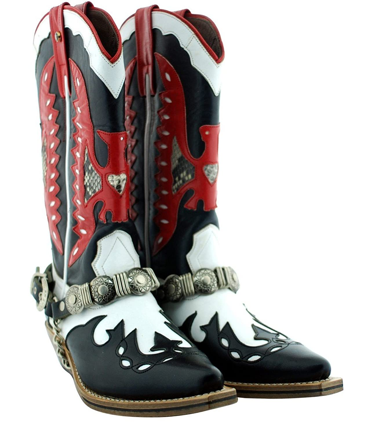 Black Red Cowboy Men's Luxury Classic Handmade Leather Boots