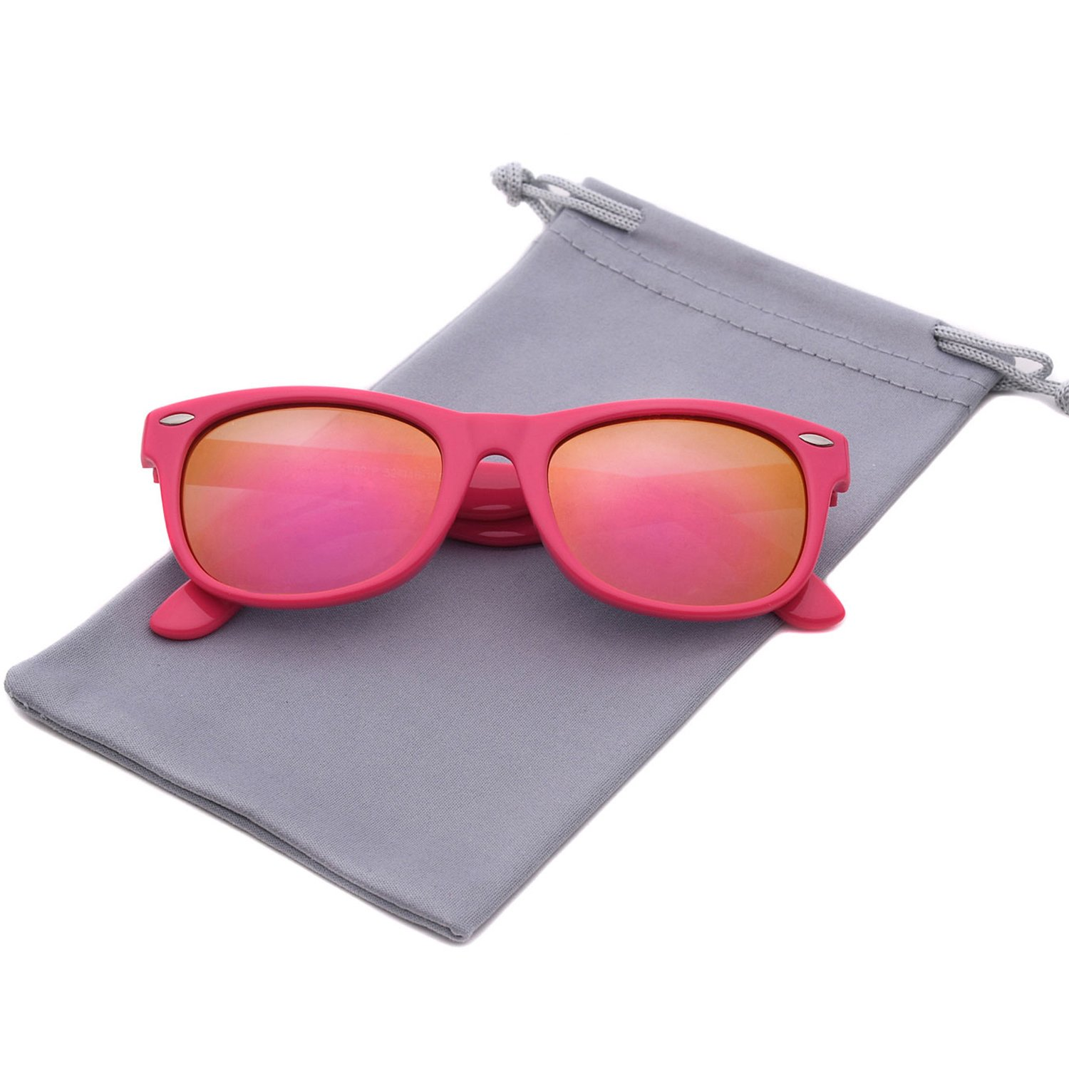 YAMAZI Kids Polarized Sunglasses Sports Fashion For Boys And Girls Mirrored Lens (Pink | Pink Mirrored Lens, Gray)