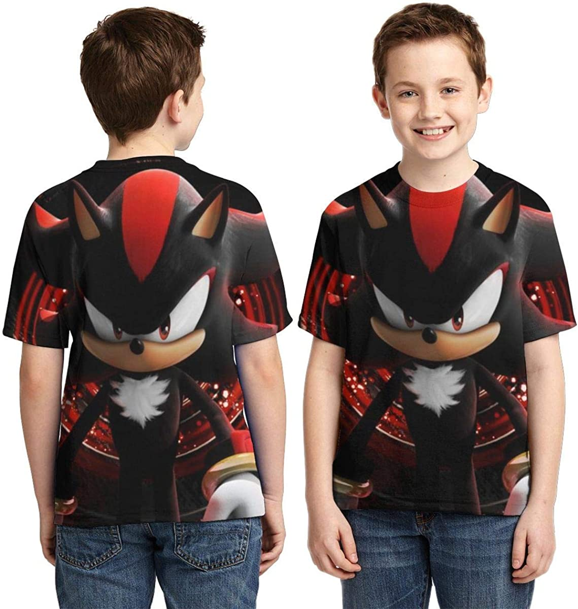 Hatstng Shadow The Hedgehog Sonic Boys Girls 3D Print Crew Tee Youth Short Sleeve T-Shirt Tanks Tops