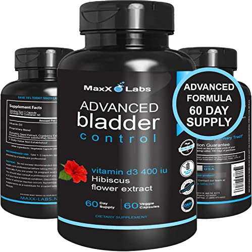 Advanced Bladder Control and UTI – New – Potent Blend of Cranberry Extract, Pumpkin Seed Extract, Hibiscus Flower, Vitamin D3, and Green Tea Extract – Useful for Urinary Tract Infection – 60 Caps