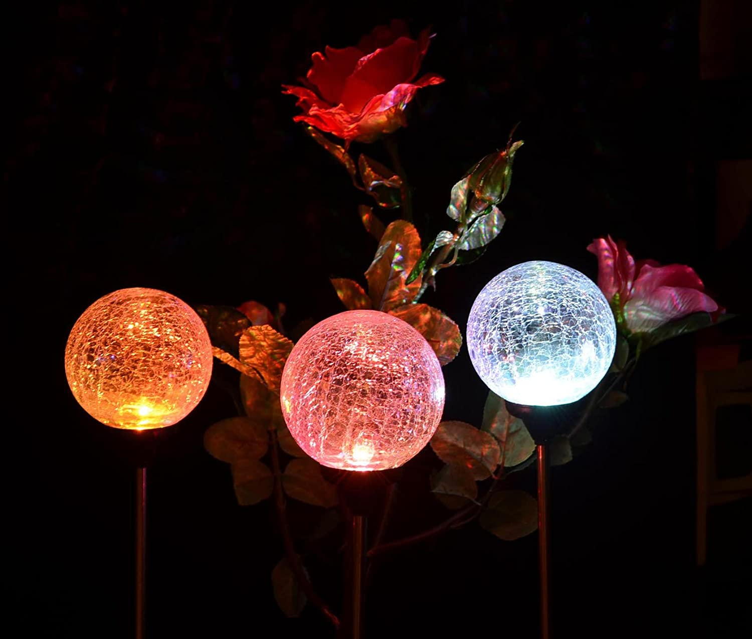 Christmas Solar Light Cracked Texture Glass Stake Lamp Landscape