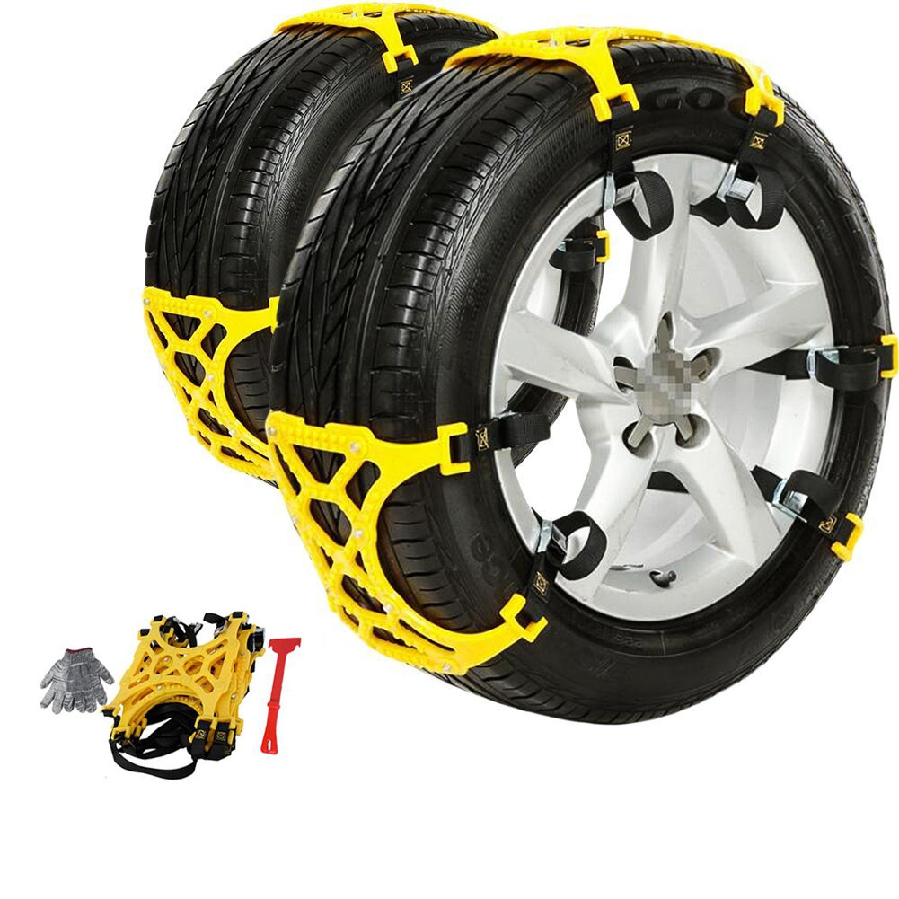 AUXMART Snow Tire Chains/Anti-Slip Car Snow Chains Adjustable Tire Snow Chains for Car/SUV/Truck