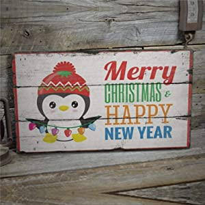 """DONL9BAUER Wooden Plaque Sign, Merry Christmas Sign, Happy New Years Sign, Penguin Wood Wall Decor Art, Farmhouse Rustic Mural Wood Pallet Perfect for Home Bar Office 12""""x16"""""""
