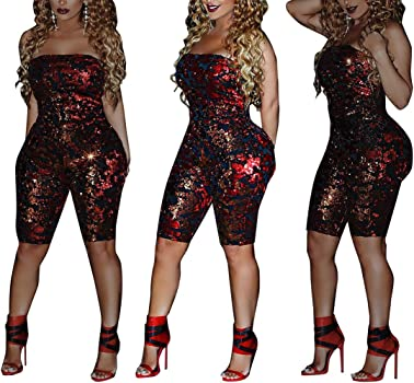 798008da6ce Women Sexy Off Shoulder Sequin Playsuit One Piece Summer Strapless Romper  Beach Short Jumpsuit. DINGANG Women Sexy Off Shoulder Sequin ...