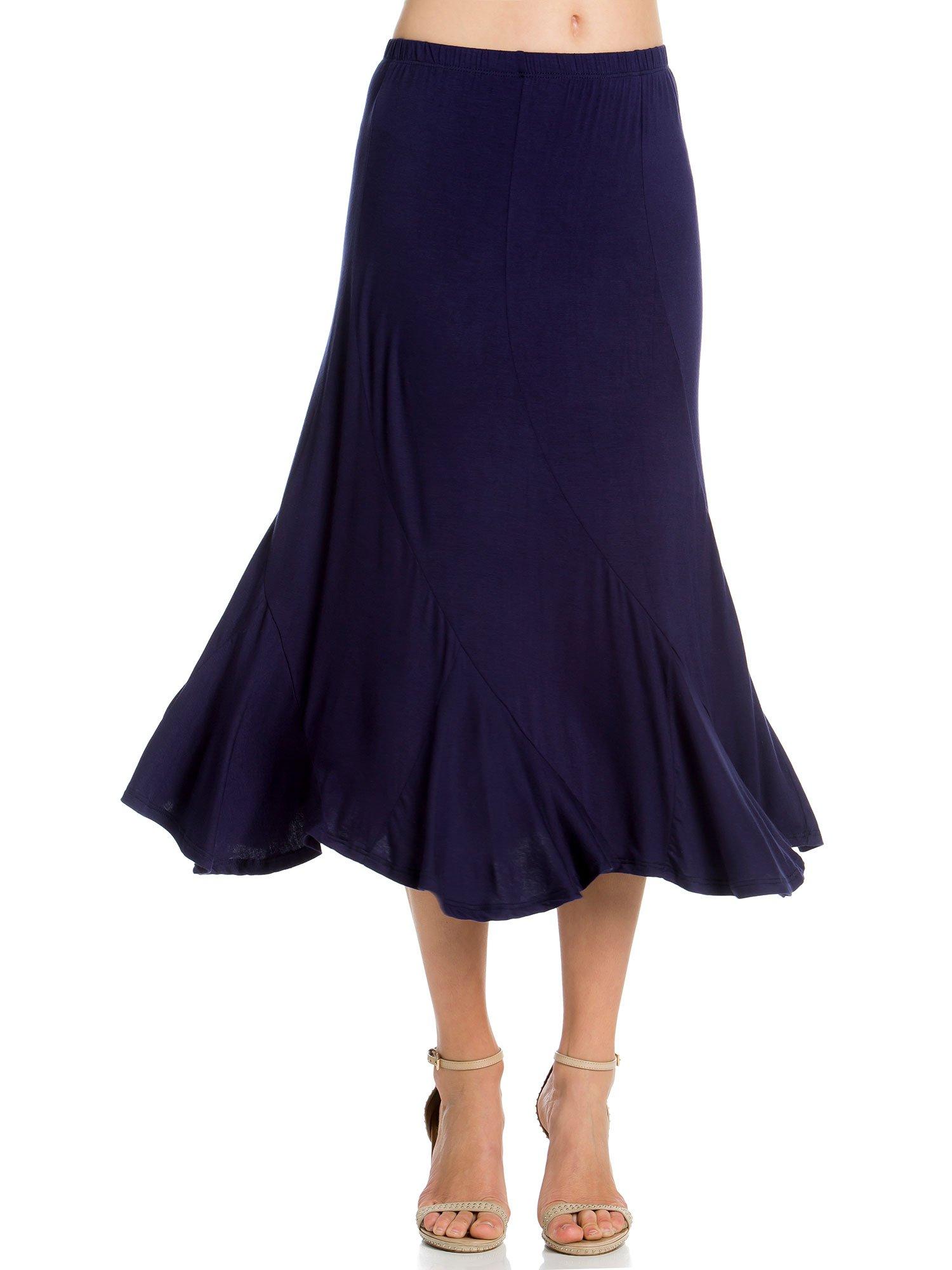Womens Elastic Waist A-Line Ruffle Skirt (Medium, Navy)