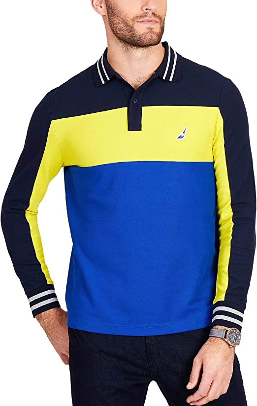 Nautica Mens Colorblocked Rugby Polo Shirt: Amazon.es: Ropa y ...
