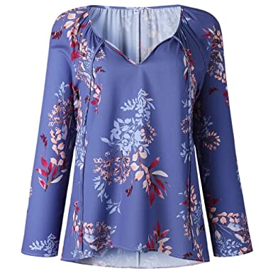 32a8bf3aab cici store Women Spring Floral Printed V-Neck Blouse,Elegant Pullover Tops  Beach Blouse