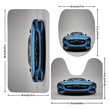 3 Piece Bathroom Mat Set,Teen Room Decor,Modern Blue Sports Car Power Prestige