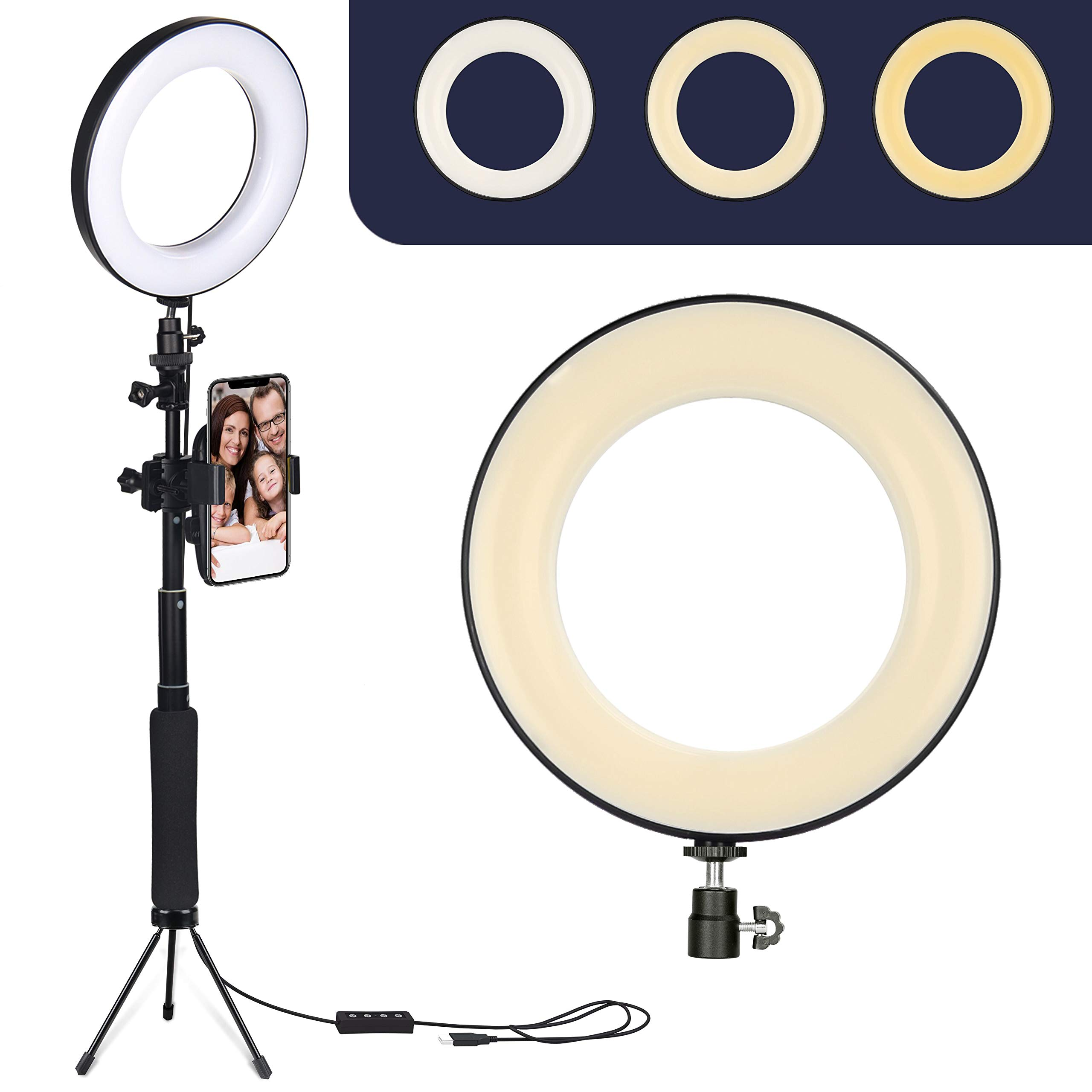 Cell Phone Holder Desktop LED Lamp with 3 Light Modes,for All Type Phone Retires LED Ring Light 6 with Tripod Stand for YouTube Video and Makeup