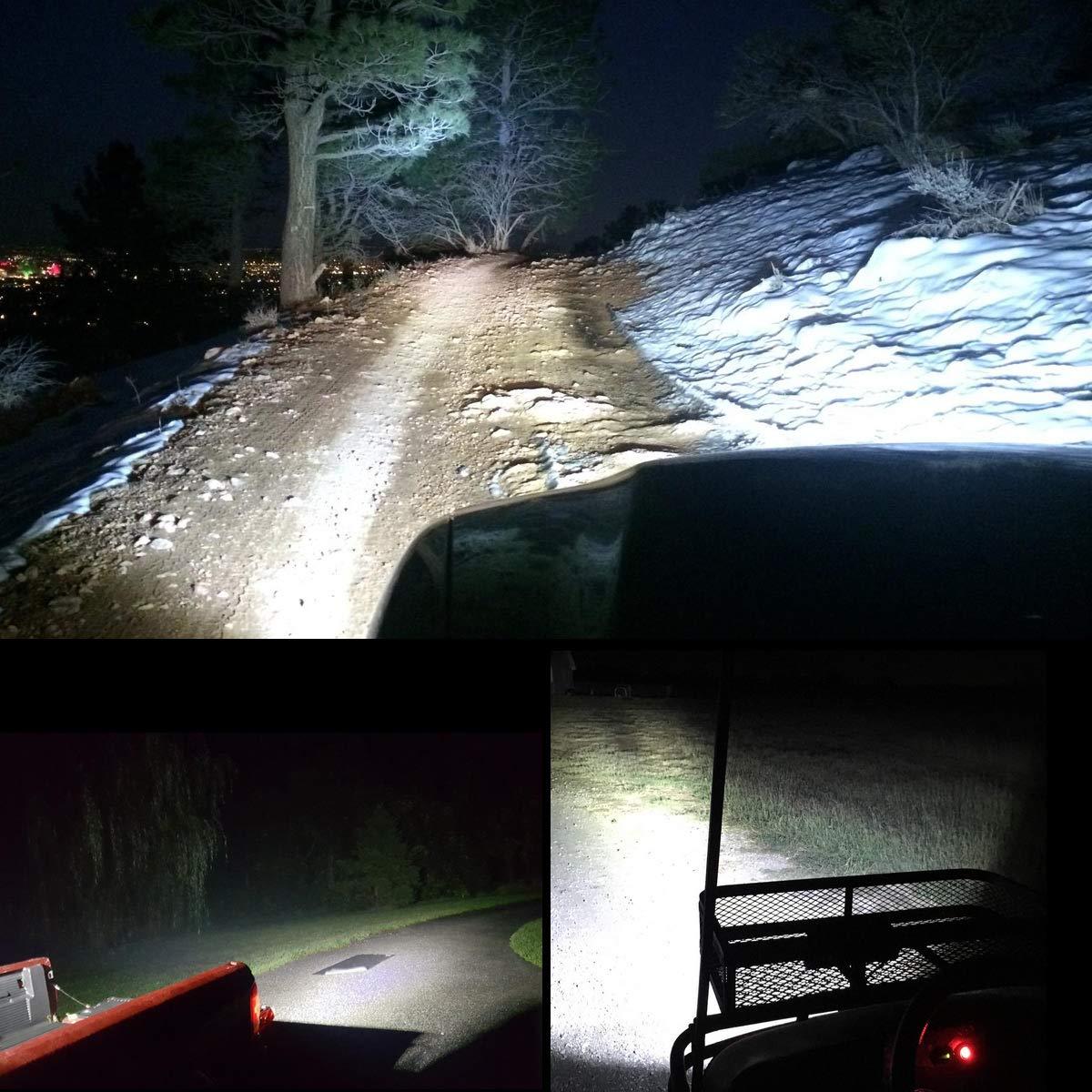 SUV Chantier Tracteur LE Lighting EVER Projecteur Phare LED Feu Travail 72W Phare Longue Port/ée LED pour V/éhicule Lot de 2 Bateau 144W au total 6000K Imperm/éable IP67 Camion