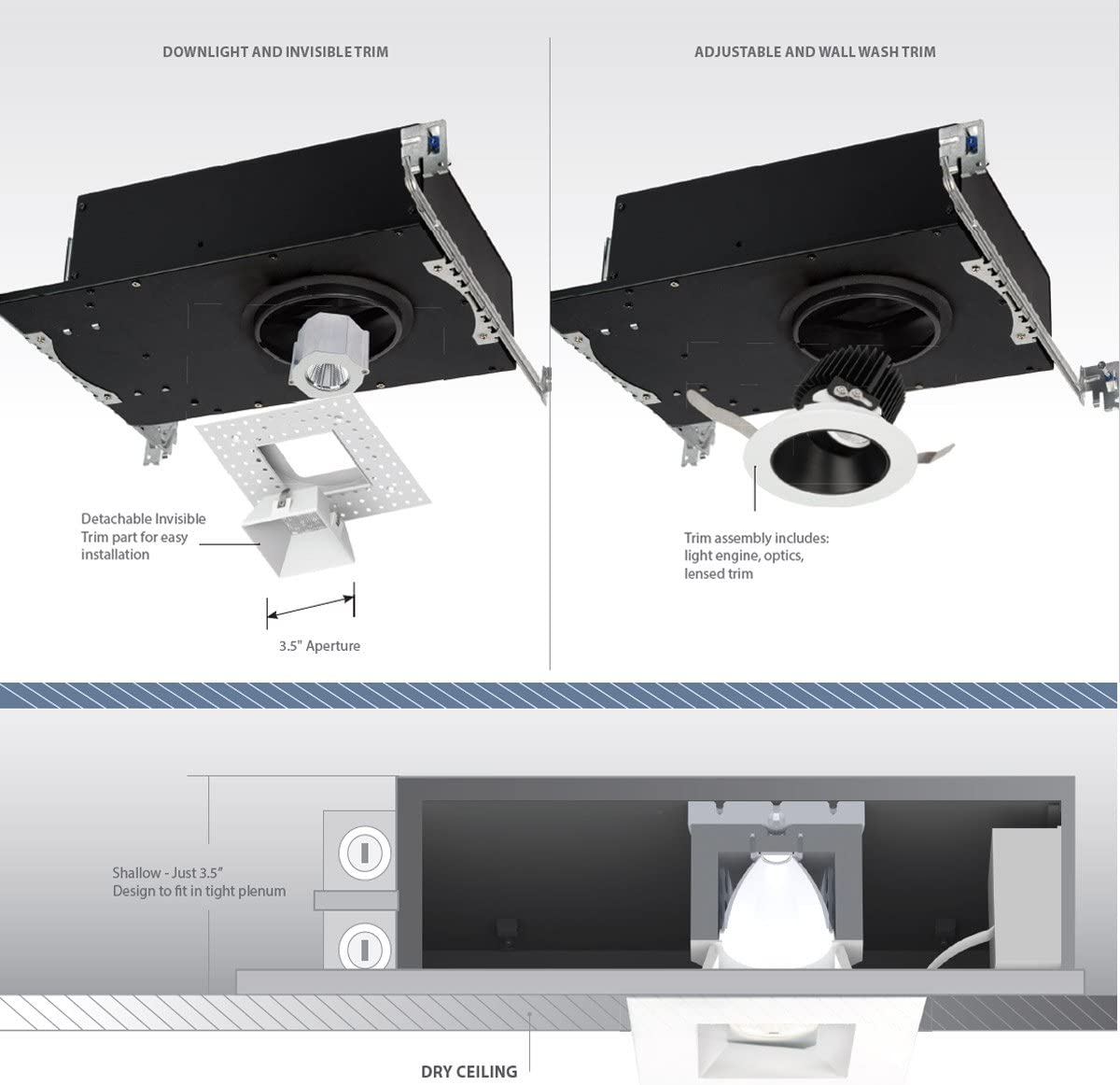 WAC Lighting R3ASAT-N927-BKWT Aether Square Adjustable Trim with LED Light Engine Narrow 25 Beam 2700K Warm 90CRI Black White