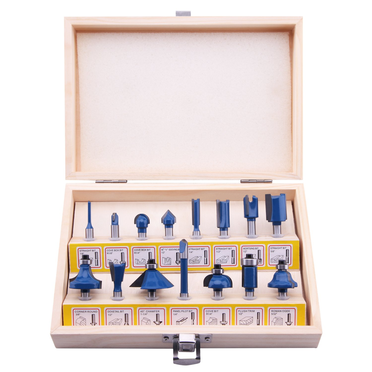 LU&MN Carbide Tipped Router Bit Set, 1/4 Inch Shank T Shape (15 Piece Kit), Wood Milling Saw Cutter (Woodworking Tools for Home Improvement and DIY) (15-Piece Blue)