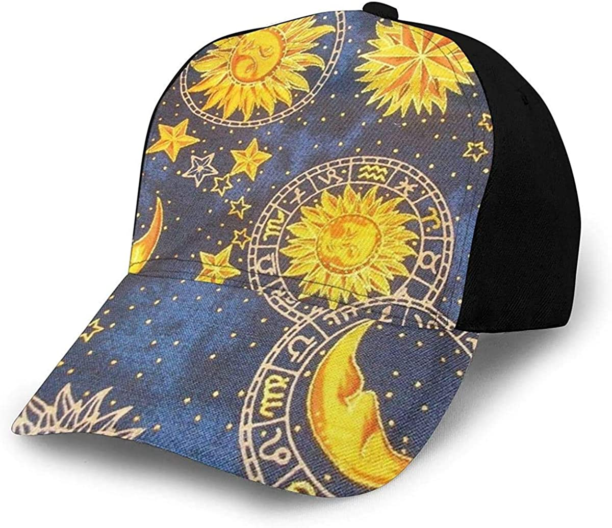 Sun Moon Stars Space Nebula Lightweight Unisex Baseball Caps Adjustable Breathable Sun Hat for Sport Outdoor Black