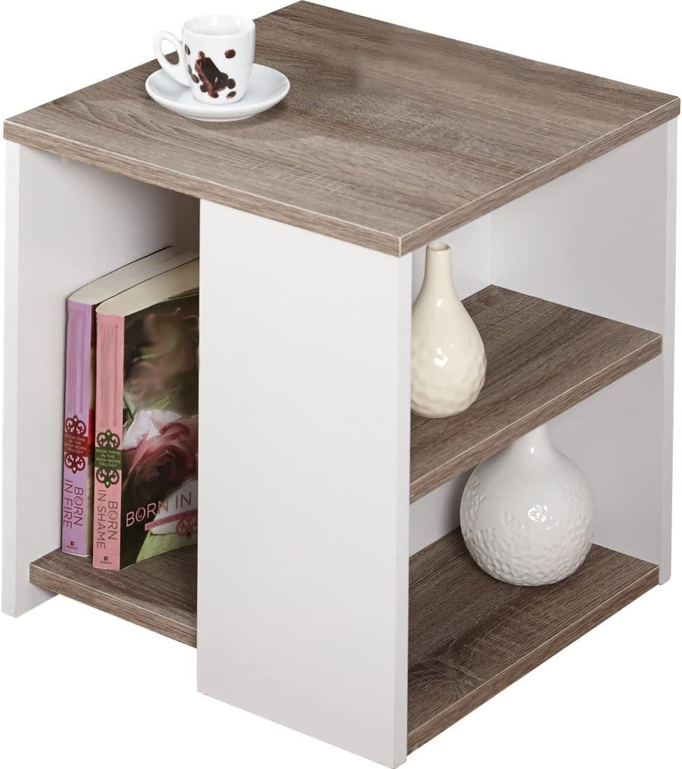 Urban – Features Include Open Shelves – Constructed of Laminated MDF – Modern Style – Sonoma Oak White Finish End Table