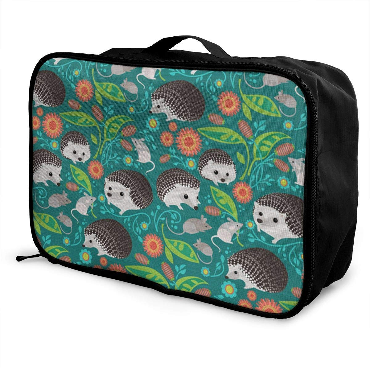 Portable Luggage Duffel Bag Woodland Hedgehogs Travel Bags Carry-on In Trolley Handle