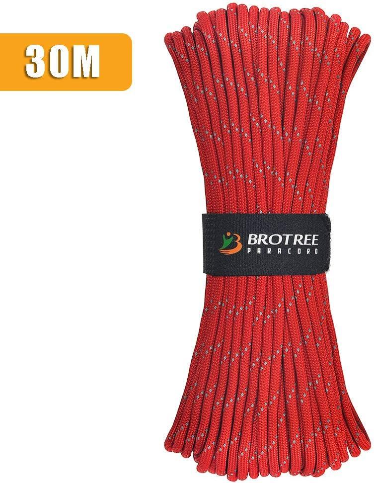 Standard, Reflektierende Brotree Paracord Schnur 550 Nylon Seil mit 9 Str/ängen Fallschirmschnur Rei/ßfestem Kernmantel Seil 280KG Bruchfestigkeit