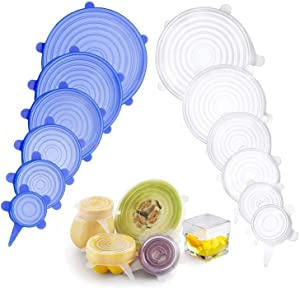 Silicone Stretch Lids 12 Pack Silicone Lids Various Sizes Reusable Round Silicone Lids for Fruits Vegetables Cups Bowls Dishes Cans, Dishwasher & Freezer Safe (6 Blue + 6 White)