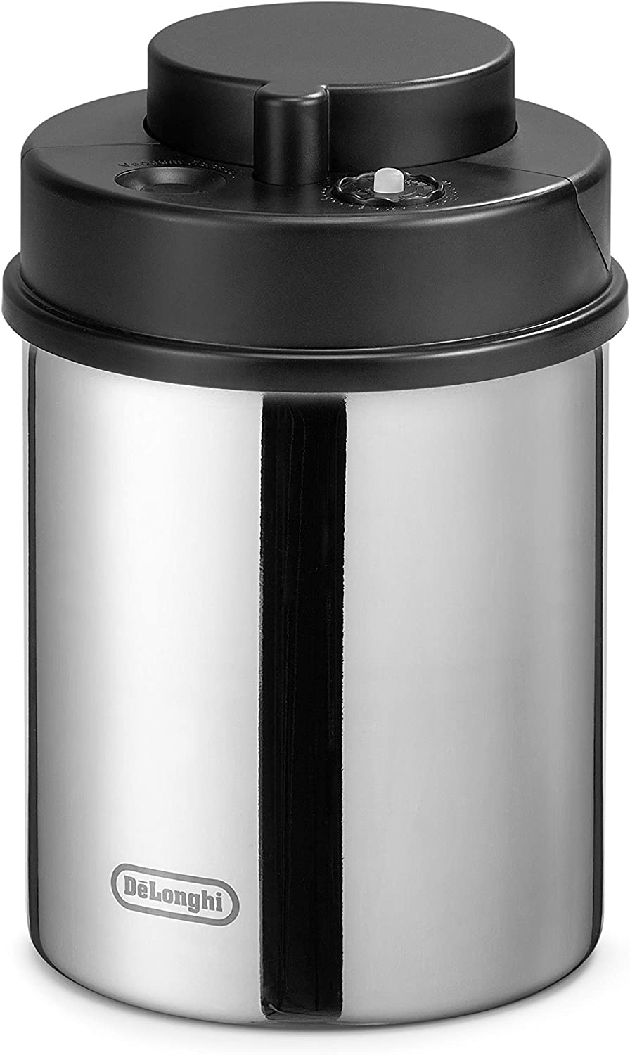 De'Longhi Coffee Canister, Vacuum Sealed Food Storage Container with Airtight Lid & Built-in Date Indicator, Polished Stainless Steel (Holds 1 LB / 500 g), DLSC063