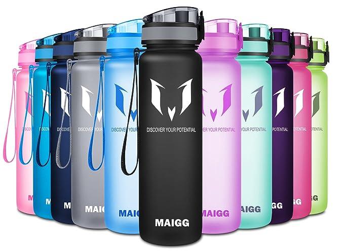 MAIGG - La mejor botella de agua deportiva de 0,5 y 1 l, respetuosa con el medio ambiente y con plástico sin bisfenol A (BPA); con rápido flujo de agua y ...