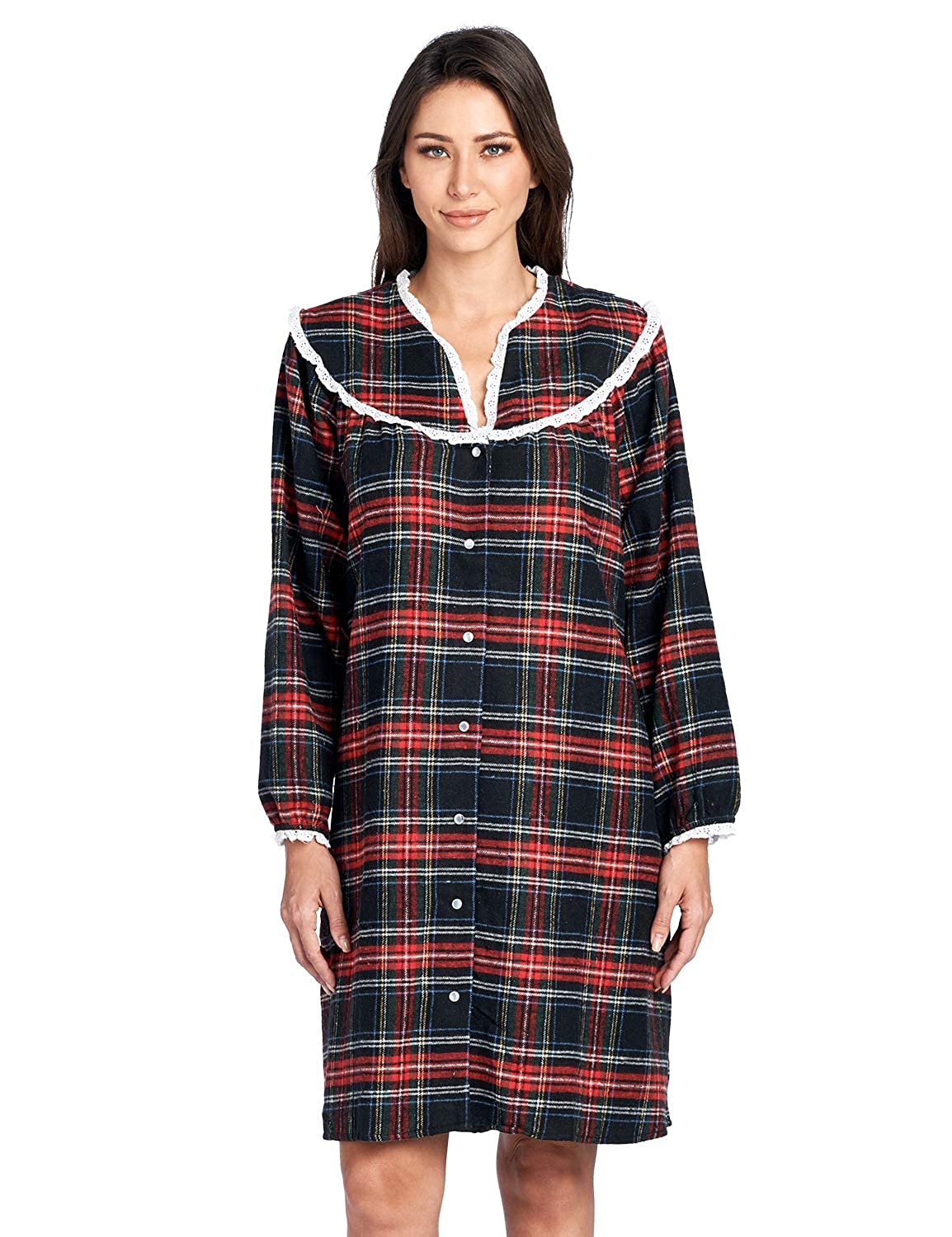 a0a4caece1 Ashford brooks womens snap front flannel robe long sleeve lounger duster  house dress at amazon womens