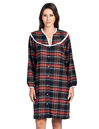 Ashford   Brooks Women s Snap Front Flannel Robe Long Sleeve Lounger Duster  House Dress 16da82cfe